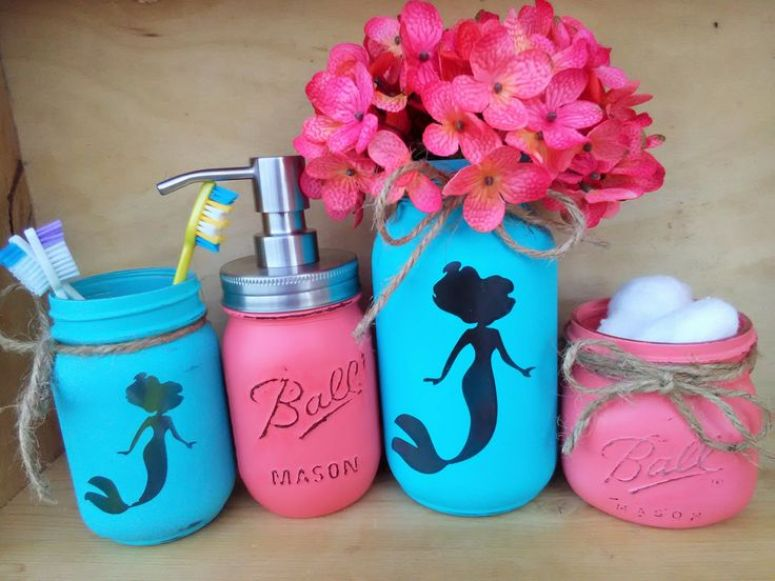 Crafts for Girls Bathroom Mason Jars
