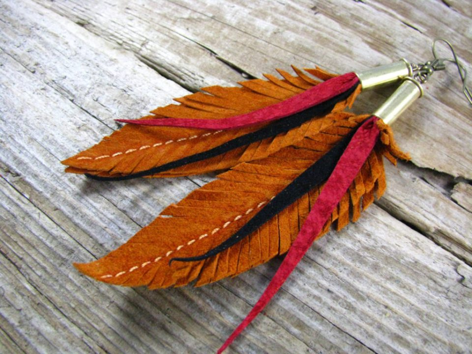 Crafts for Girls Leather Feather Earrings
