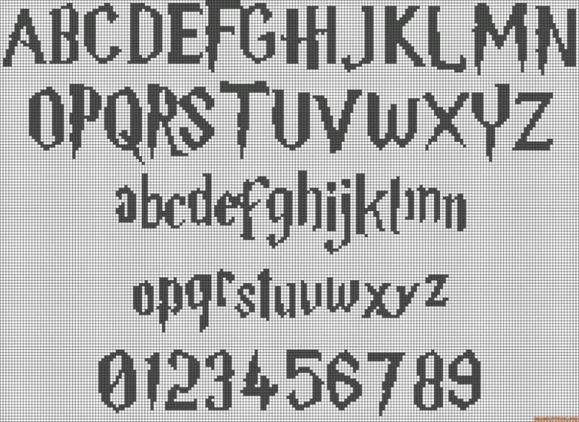 Cross Stitch Alphabet Harry Potter