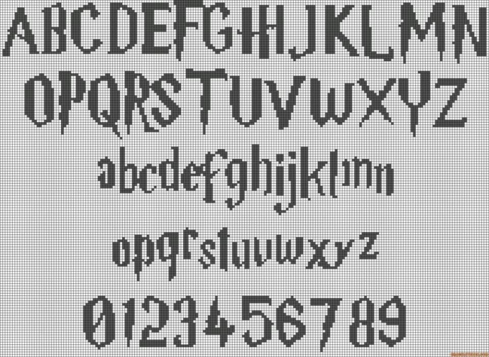 Cross Stitch Alphabet Harry Potter