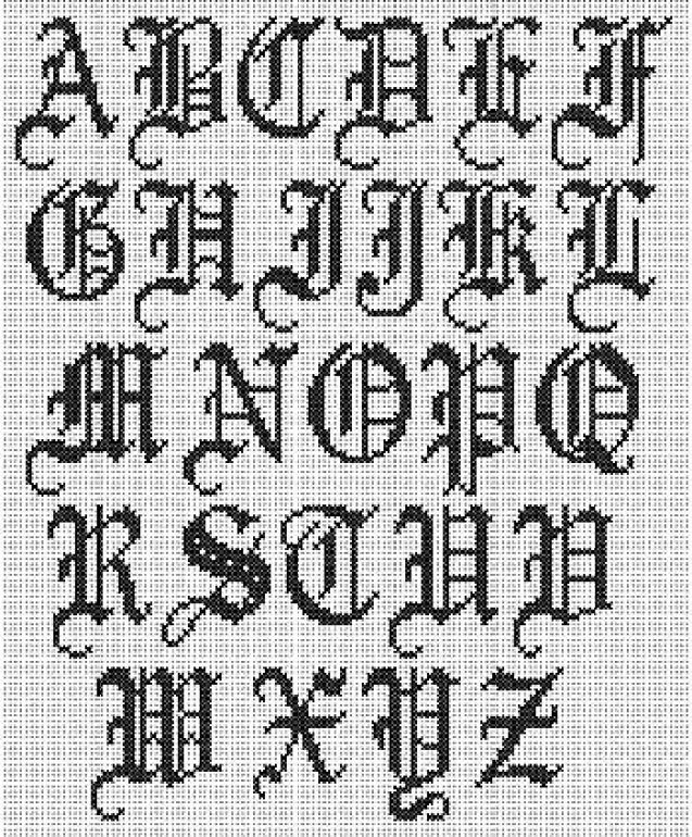 Cross Stitch Alphabet: Old English