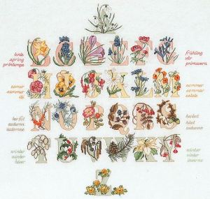 Cross Stitch Alphabet Seasons