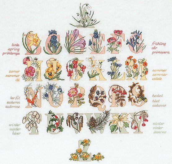 Cross Stitch Alphabet Seasons