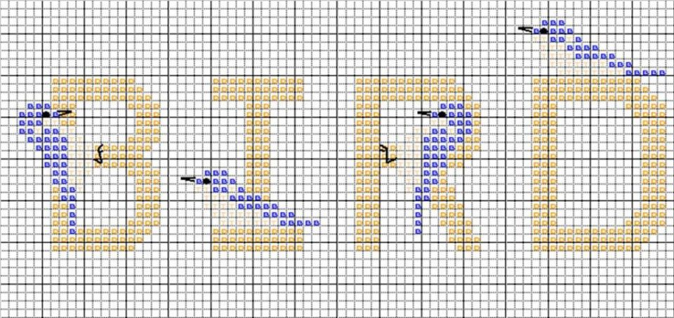 Cross Stitch Alphabet Hummingbird