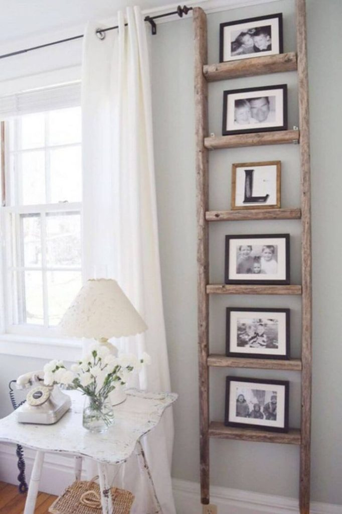 Wood Crafts Rustic Ladder Shelf