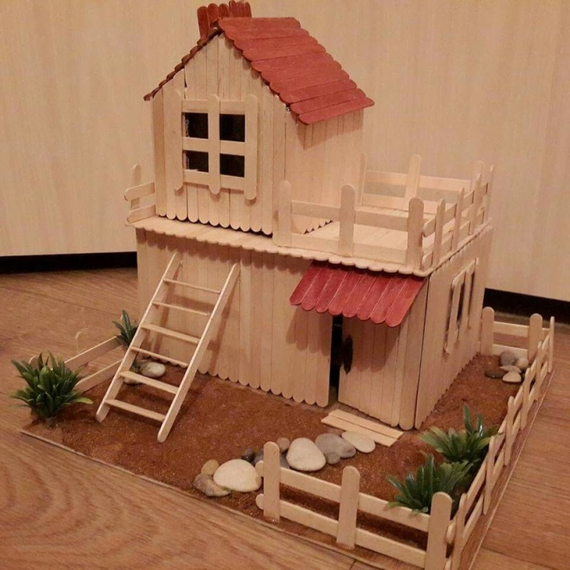 Popsicle Stick House Two Story