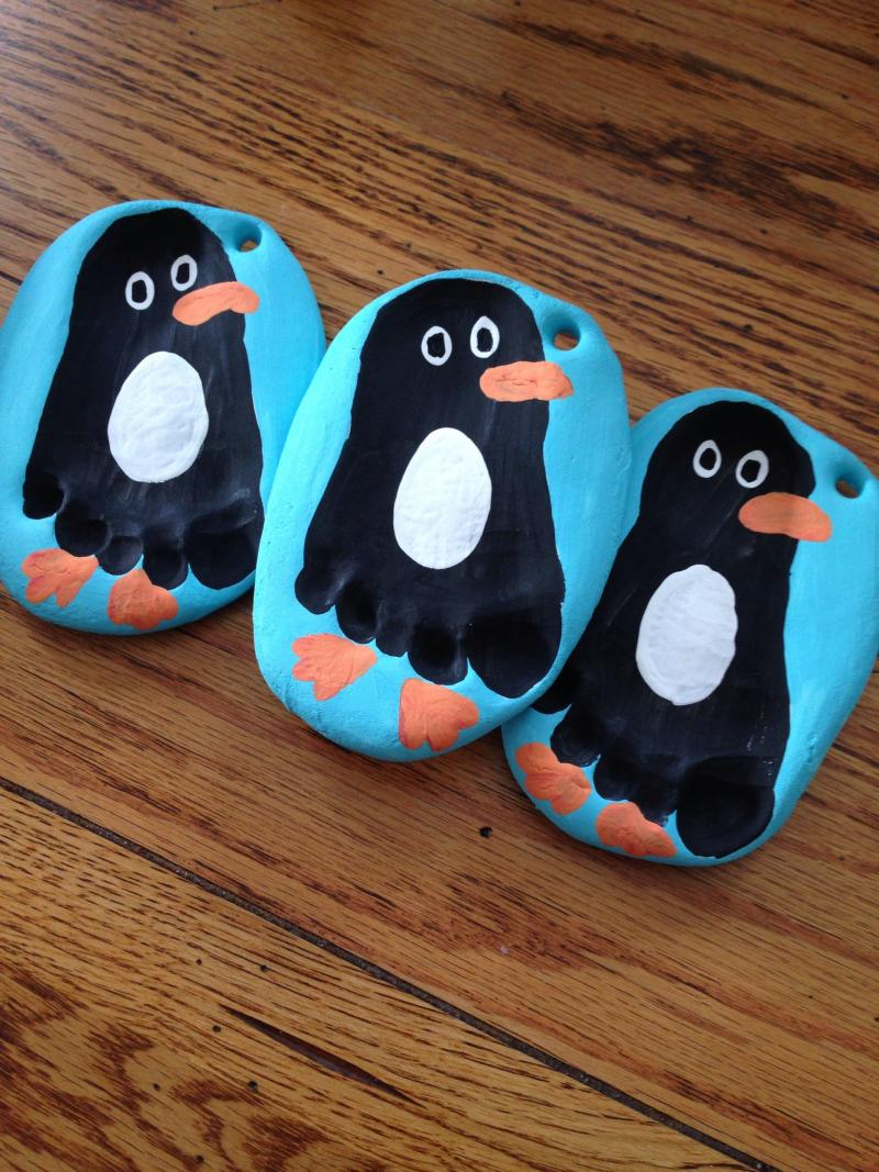 penguin craft with water bottle