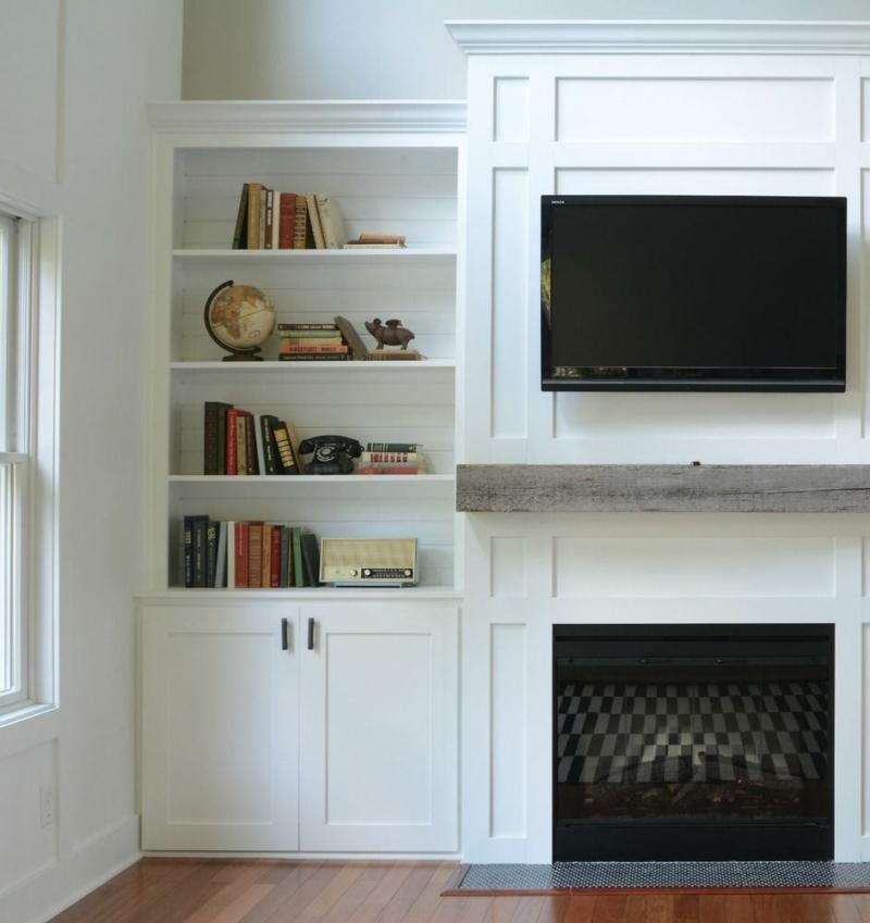 diy built in corner bookcase