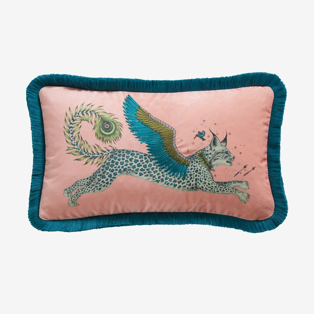 emma j shipley lynx velvet bolster cushion pink