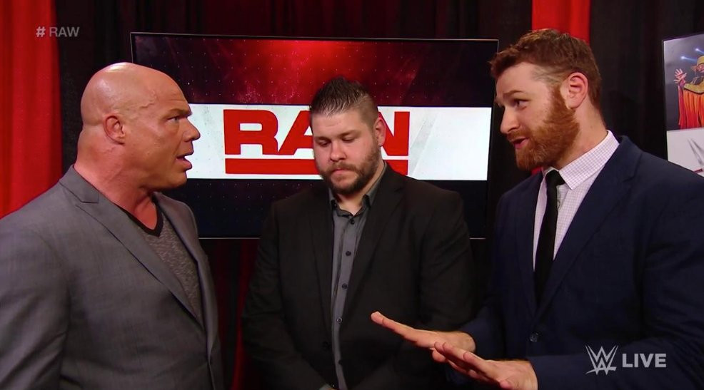 Image result for Owens & Zayn ask Kurt Angle for a Job on RAW