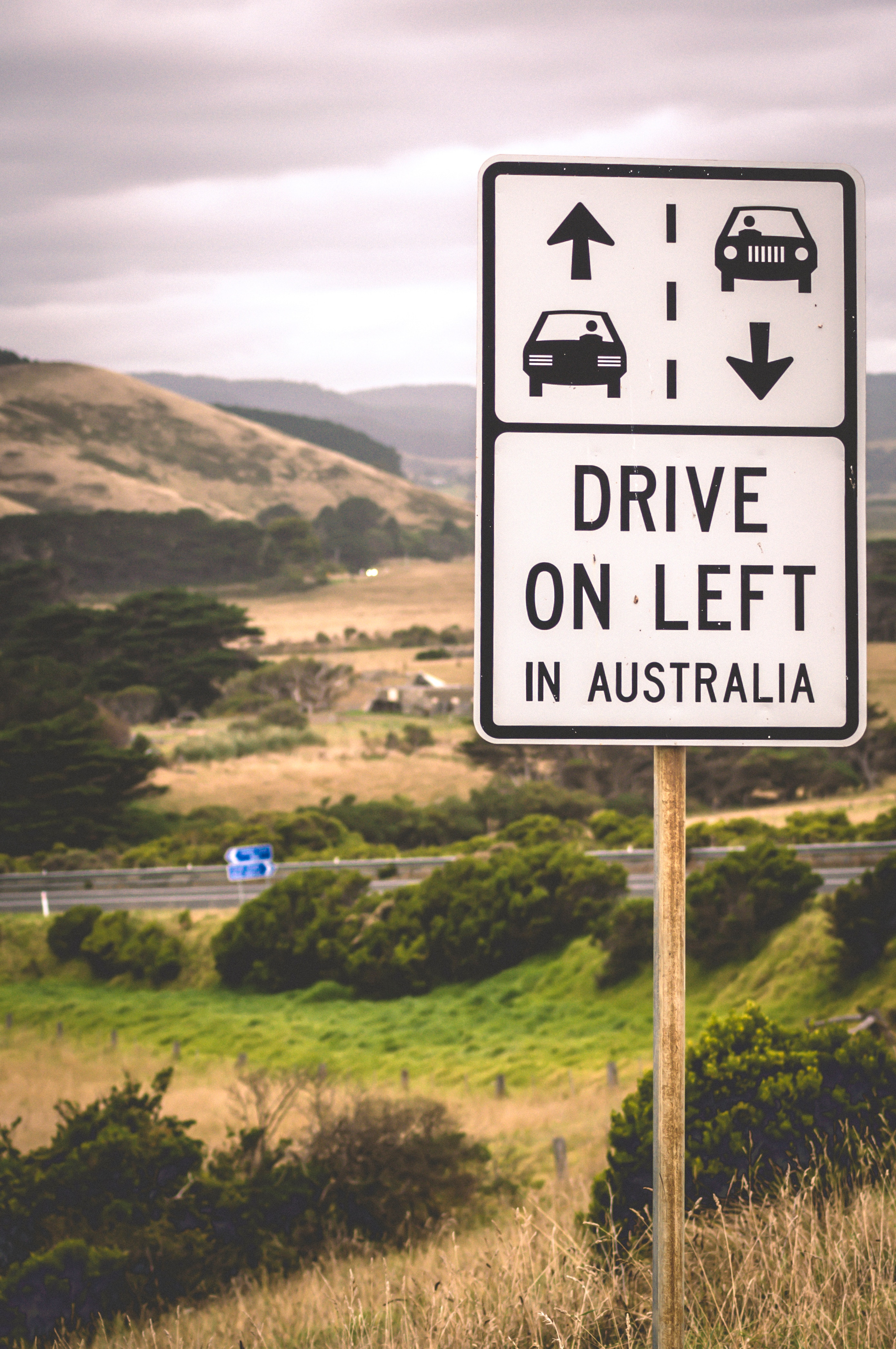 "Australian road sign reads ""drive on left"""