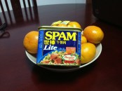 SPAM - Not something I normally buy unless Mike is with me and he insists. Must of had a tender moment if I purchased it without him being present. I loved the look on everyone's faces when they saw what they were having. Delight, comes in so many ways, ha!