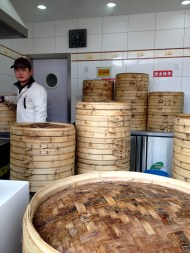 I suppose we can call this guy the bun steamer... All the bamboo steamers you see here are used in this little establishment. Can you imagine hand rolling enough buns to fill all the bamboo steamers?