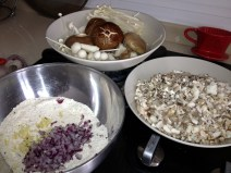 Mix onion and fresh garlic into the flour mixture. The more garlic the better I think. :)