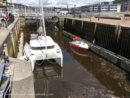 catamaran in River Tawe lock