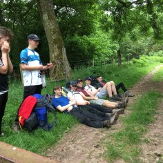 young hikers resting