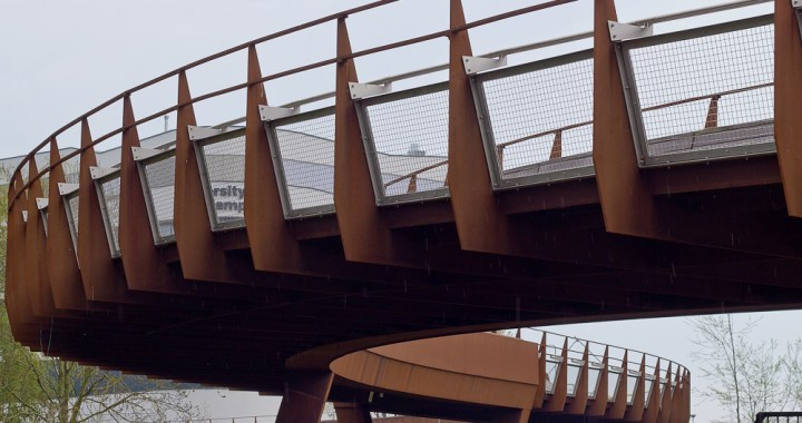 twisting footbridge