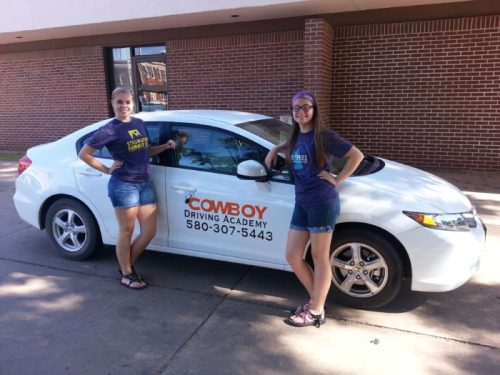 Miriam and Mary Hall, daughters of Cowboy Driving Academy's Stefan Hall.