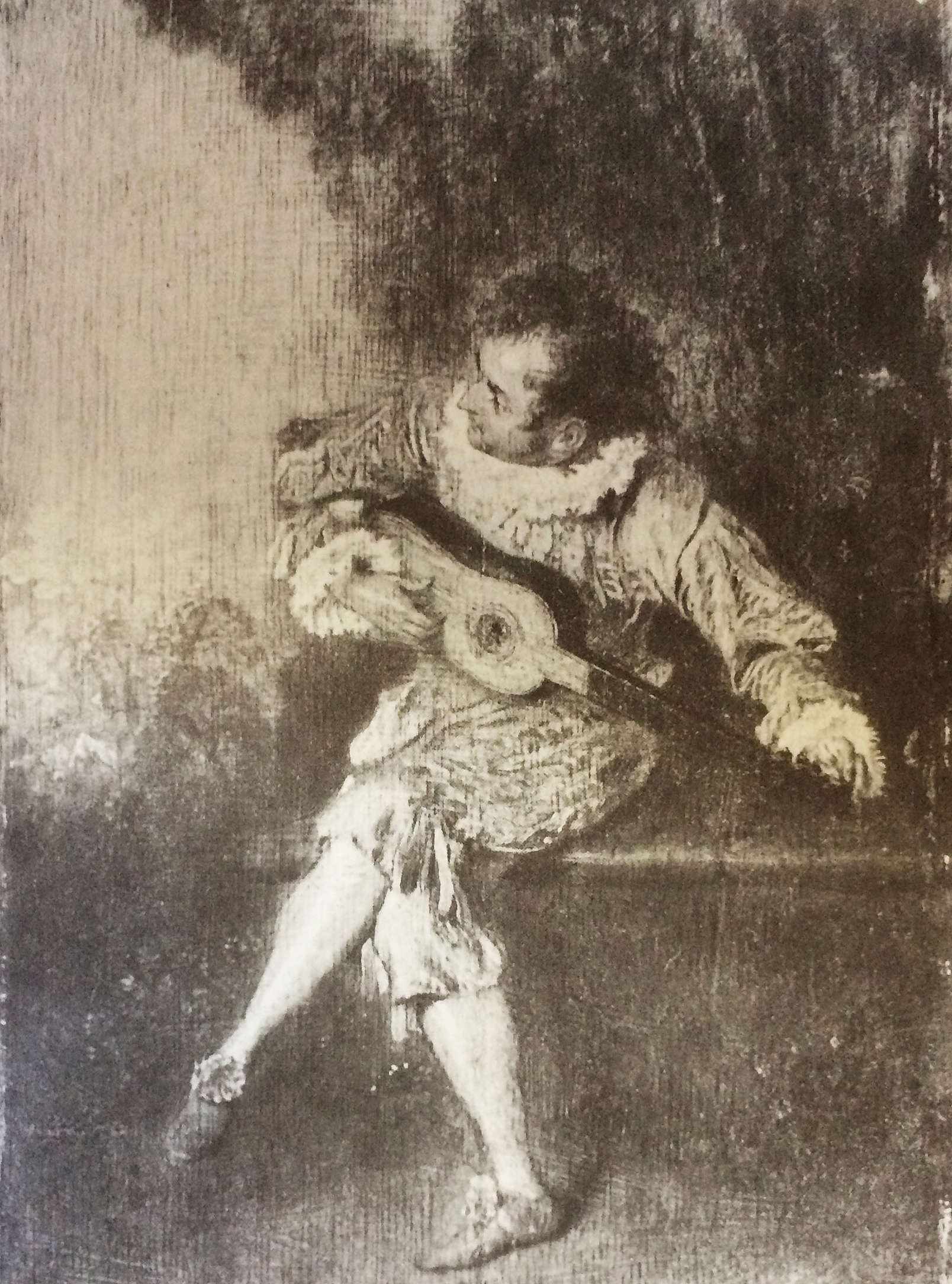Watteau, Lute Player drawing 3
