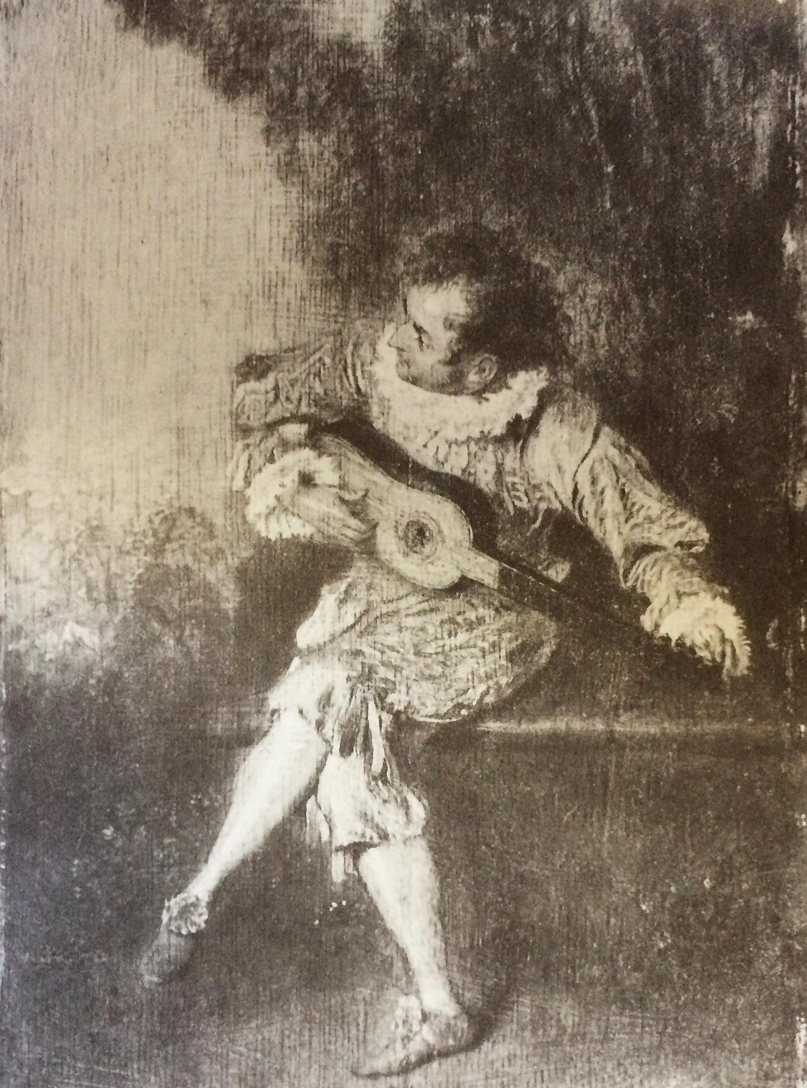 Watteau, Lute Player drawing 3