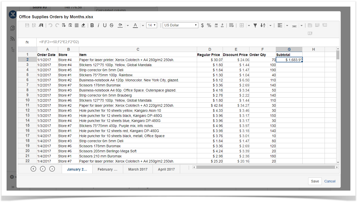 Table Filter And Charts With Dynamic Spreadsheets In