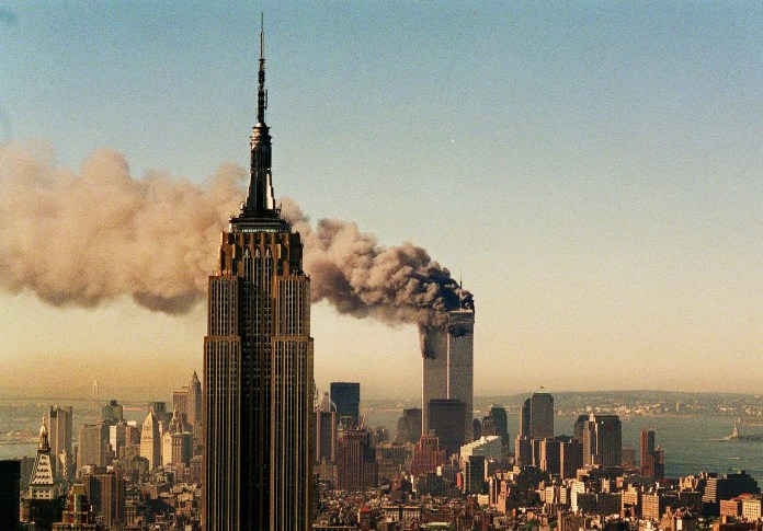 world trade center burning september 11
