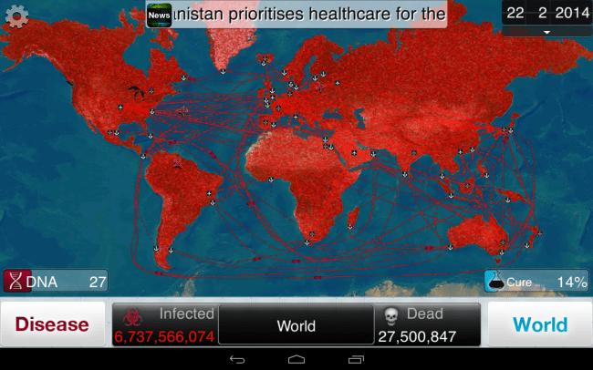Your Goal? The Complete Annihilation of the Human Race. The Red on the Map Represents the Rate of Worldwide Infection.