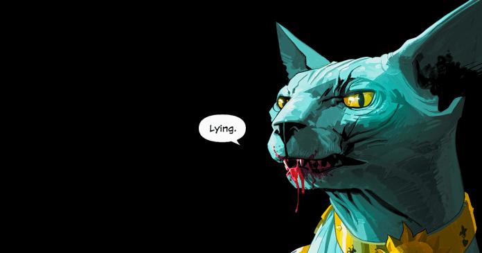 Lying Cat from Saga against black background stimulated boredom.