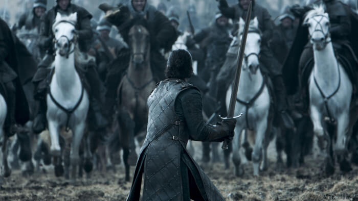 Jon snow on the battle field in the game of thrones episode, Battle of the Bastards