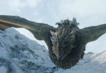 Jon Snow riding Drogon the dragon during the Game of Thrones Season 8 premiere episode. Stimulated Boredom podcast featured image.