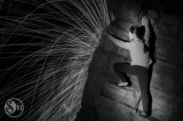Mixing rock climbing and steel wool spins.