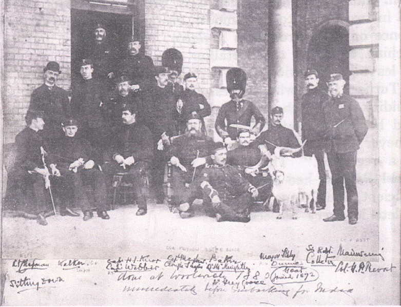 Officers of the 23rd Foot at Woolwich Barracks in 1880 with Col Prevost on far right next to regimental goat