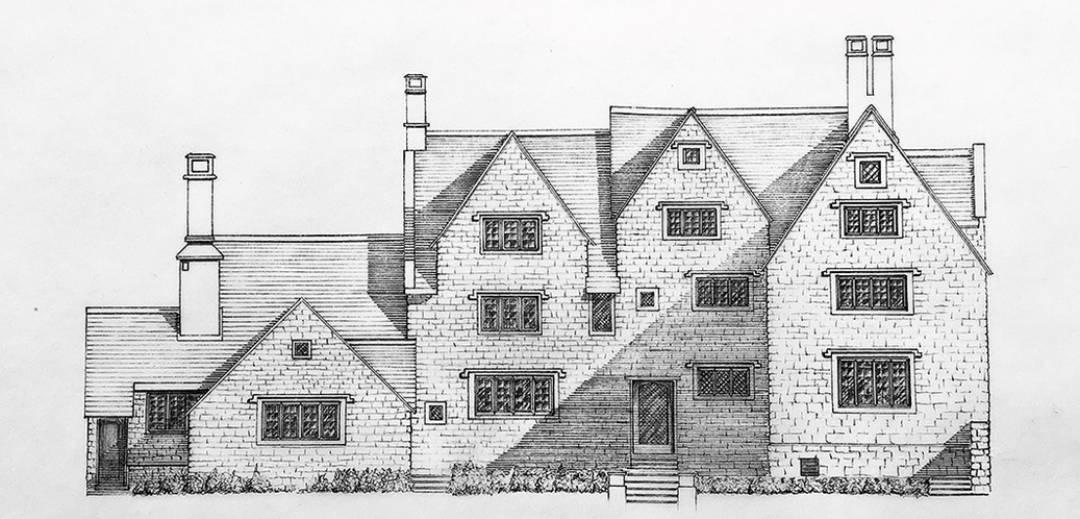 A Line Drawing of Melksham Court