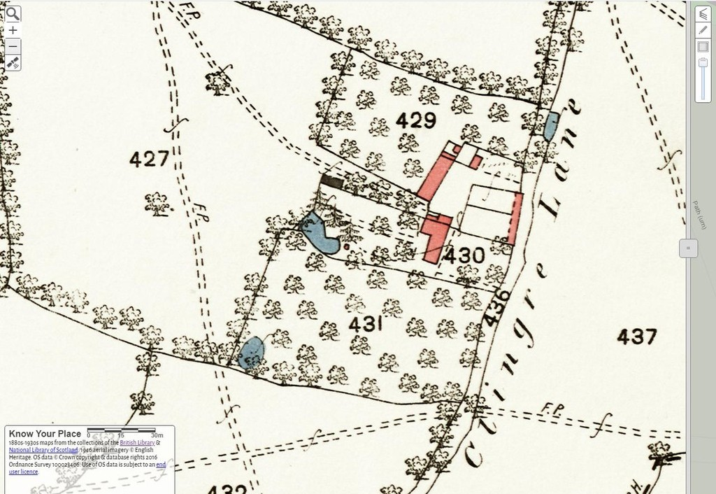 """Old Clingre Farm on 1st edition of 25"""" OS Map"""