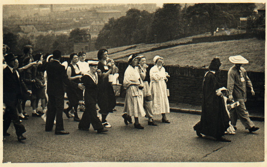 Old photograph of a Whit walk in Yorkshire