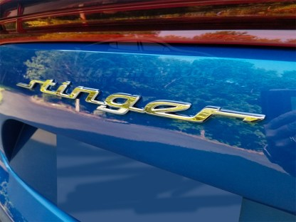 stinger text badge blue