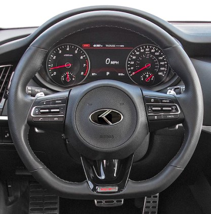 kia stinger steering wheel with vintage k logo