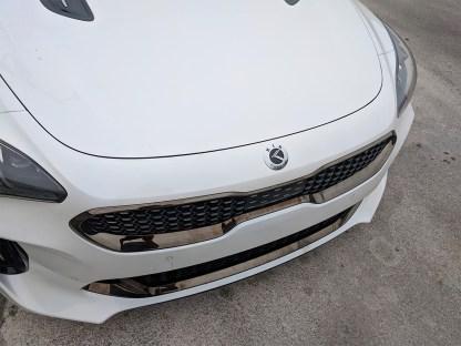 white stinger with chrome kia motors badge