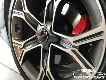 """red and white gt overlay on 18"""" wheel"""
