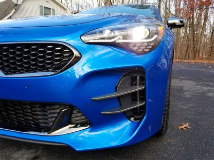 kia stinger devils claw foglight canards on blue stinger