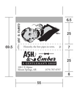 Measurements are in Millimeters so don't let the numbers throw you. This box features not only my design but my illustration and tag line.