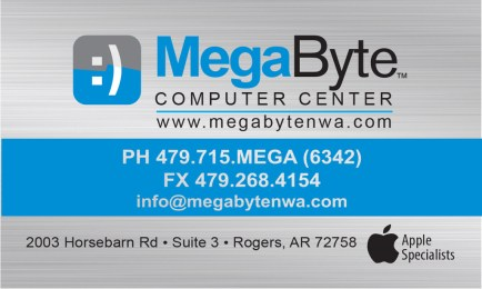 This is a business card I designed for MegaByte, a retail store and repair shop that specializes in Apple Computers
