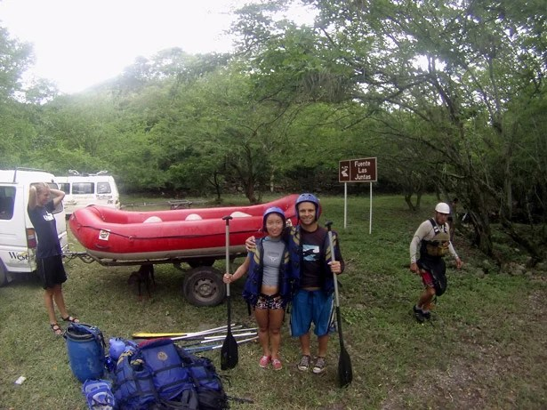 Alya and I rafting the Rio Suarez from San Gil. Backpacking Colombia