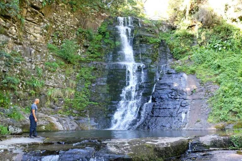 Campbell at a beautiful waterfall on the Amatola hike