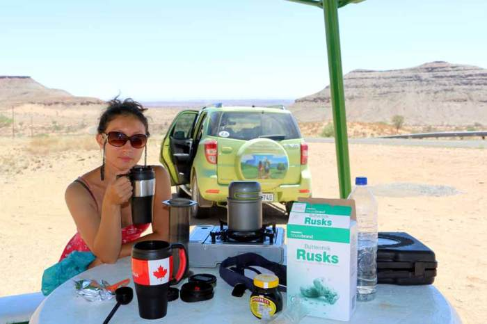 Tea with rusks stop on the way to Luderitz