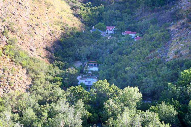 The view of the Baths Hot Springs in Citrusdal from a view-point