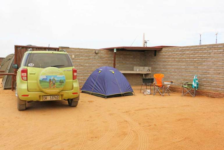 Our campsite at Cape Cross Lodge in Namibia