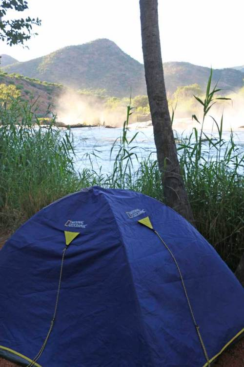 Stingy Nomads' tent at Epupa Falls one of the most in-nature Namibia campsites