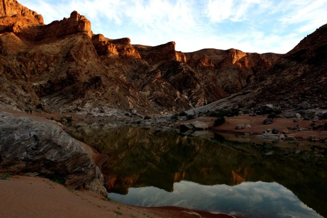 Beautiful sunsen at the end of the first day. Fish River canyon hike