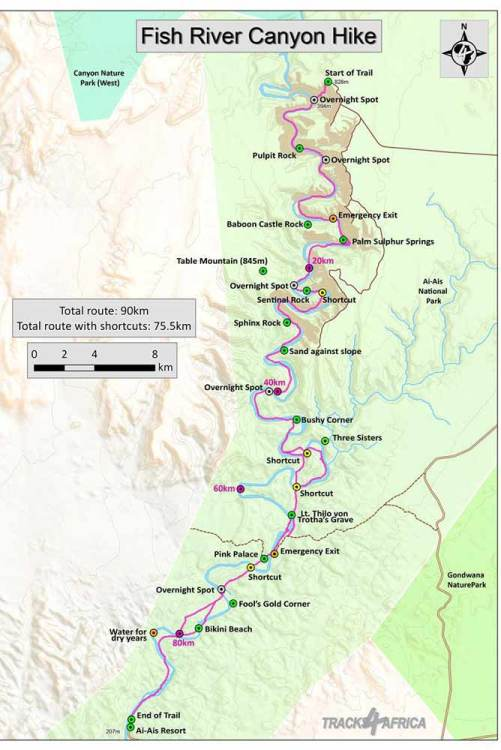A map of the Fish River Canyon hike
